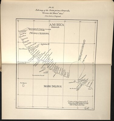"""Identification of Frances Drake's Anchorage on the Coast of California in the year, 1579 - Sub-map of the Carta prima Generale, """"Arcano del Mare"""" 1647"""