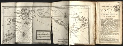 Continuation of a Voyage to New Holland  - Title page and map of Nova Guinea