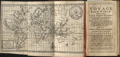 A Voyage Round the World - Title page and map of the world