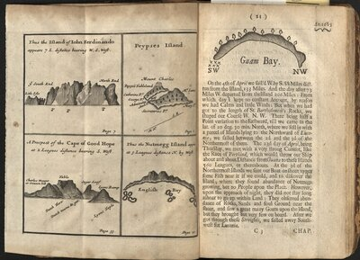 A Collection of Original Voyages…  - Plate of the Island of John Ferdinando, Peypses Island, Cape of Good Hope, and Nutmegg Island