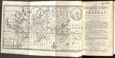 A Collection of Voyages… Vol. IV  - Title page and map of the world