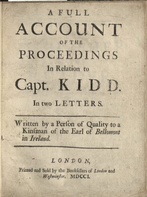 A Full Account of the Proceedings in Relation to Captain Kidd  - Title page
