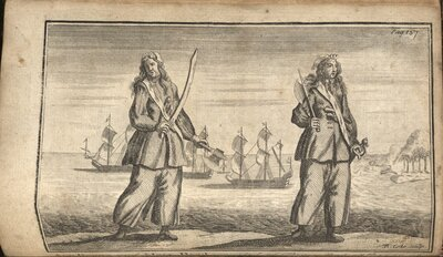 A General History of the Pyrates…  - Illustration of Mary Read and Anne Bonny