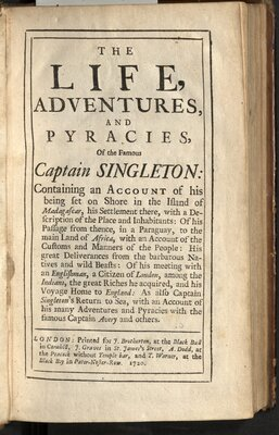 The Life, Adventures, and Pyracies, Of the Famous Captain Singleton… - Title page