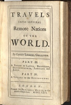 Travels into several remote nations… By Captain Lemuel Gulliver, Vol. II  - Title page