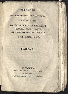 Noticias de la Provincia de Californias en tres cartas de un sacerdote religioso… - Title Page