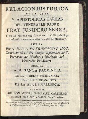 Relacion historica de la vida y apostolicas tareas del venerable padre Fray Junípero Serra - Title Page