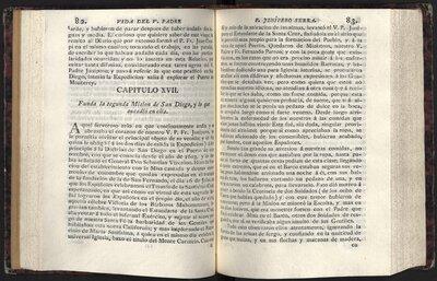 Relacion historica de la vida y apostolicas tareas del venerable padre Fray Junípero Serra - Pages 82 and 83