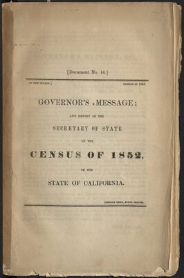 Governor's Message: and Report of the Secretary of State on the Census of 1852 - Title Page
