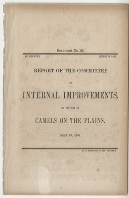 Report of the Committee on Internal Improvements on the Use of Camels on the Plains - Title page